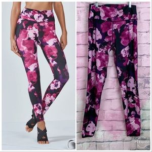 Fabletics high waisted pink floral leggings Large